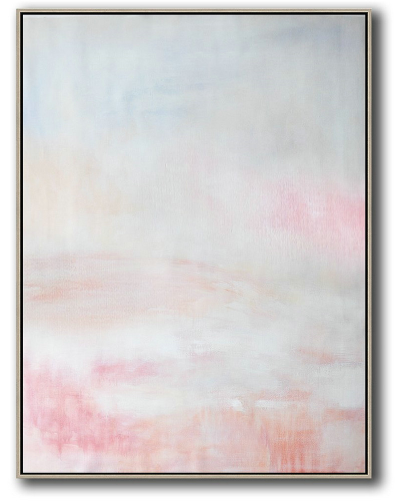 Oversized Canvas Art On Canvas,Vertical Vertical Abstract Art On Canvas,Huge Abstract Canvas Art,Grey,Pink,White.etc