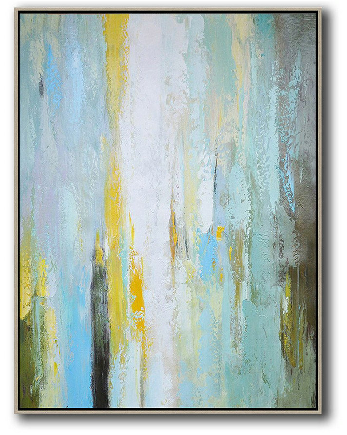 Hand Painted Extra Large Abstract Painting,Vertical Palette Knife Contemporary Art,Handmade Acrylic Painting,Blue,White,Yellow,.etc