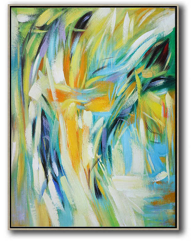 Handmade Large Contemporary Art,Vertical Palette Knife Contemporary Art,Extra Large Wall Art,Green,White,Yellow,Blue.etc