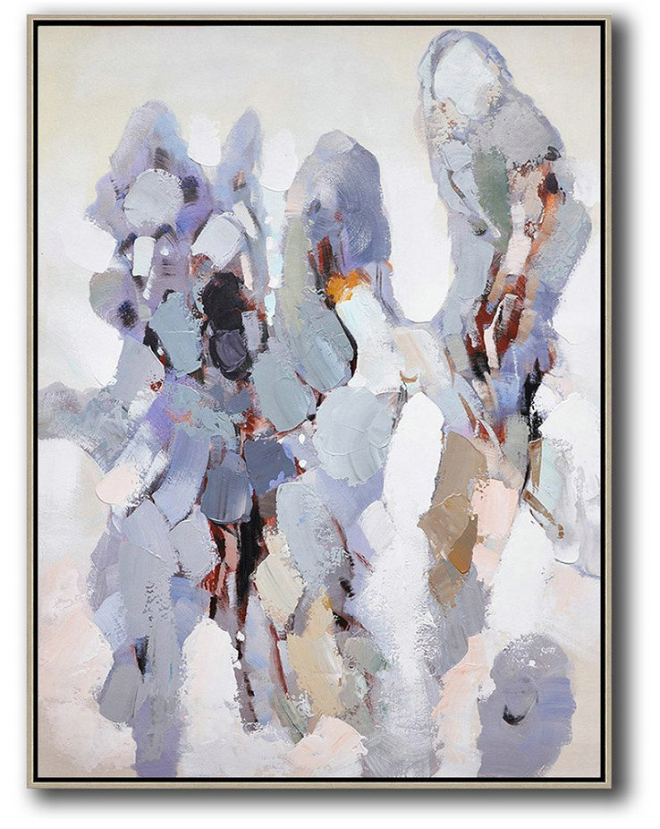 Hand Made Abstract Art,Vertical Palette Knife Contemporary Art,Oversized Canvas Art,Gray,White,Brown.etc