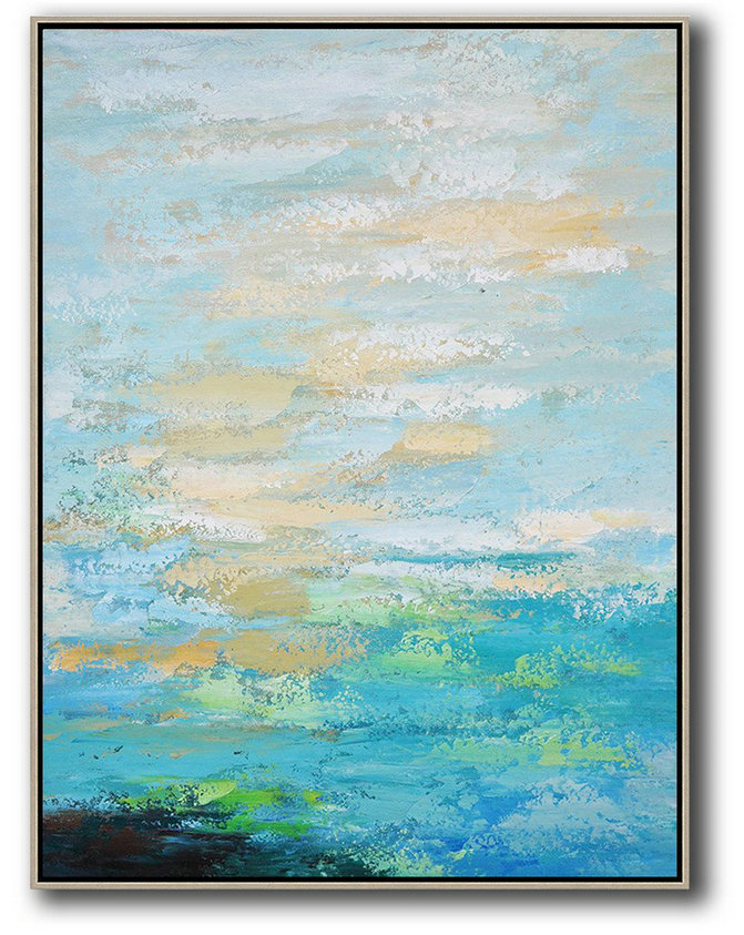 Handmade Painting Large Abstract Art,Vertical Palette Knife Contemporary Art,Living Room Canvas Art,Blue,Yellow,White.etc