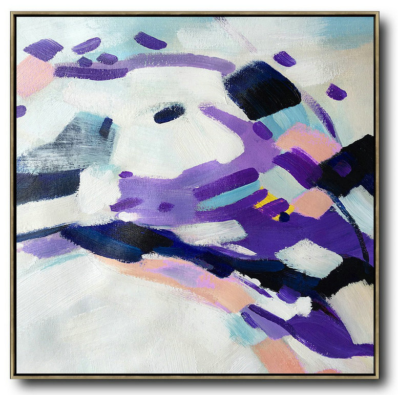 "Extra Large 72"" Acrylic Painting,Oversized Contemporary Art,Hand Painted Acrylic Painting,White,Purple,Pink,Black.etc"