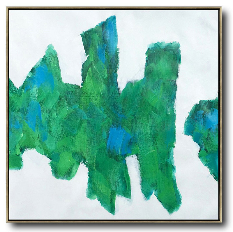 Large Abstract Painting On Canvas,Oversized Contemporary Art,Giant Canvas Wall Art,White,Blue,Green.etc