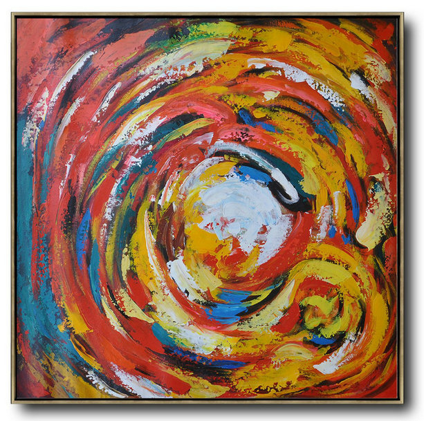 Extra Large Acrylic Painting On Canvas,Oversized Contemporary Art,Unique Canvas Art,Red,White,Yellow,Blue.etc