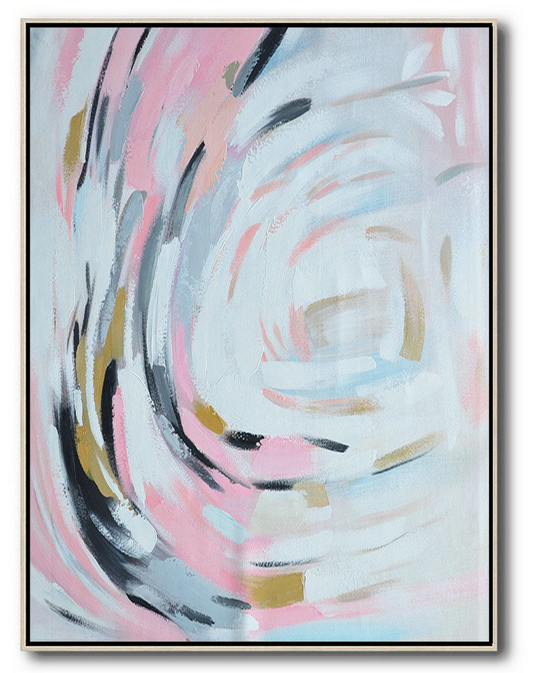 Extra Large Acrylic Painting On Canvas,Oversized Square Palette Knife Abstract Floral Painting On Canvas,Huge Abstract Canvas Art,Pink,White,Grey,Black.etc