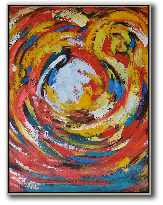 Original Painting Hand Made Large Abstract Art,Vertical Oversized Horizontal Palette Knife Abstract Floral Painting On Canvas,Acrylic Painting On Canvas,Red,White,Yellow,Blue.etc