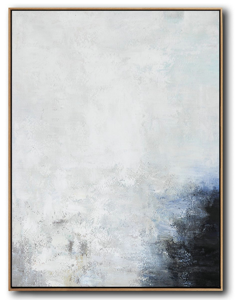 Original Artwork Extra Large Abstract Painting,Vertical Vertical Abstract Art On Canvas,Large Wall Art Canvas,Grey,White,Black,Blue.etc