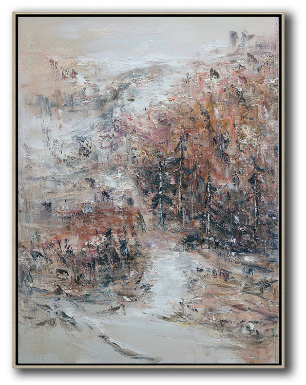 Handmade Painting Large Abstract Art,Original Abstract Landscape Oil Painting On Canvas,Modern Art Abstract Painting,Grey,White,Pink,Brown.etc