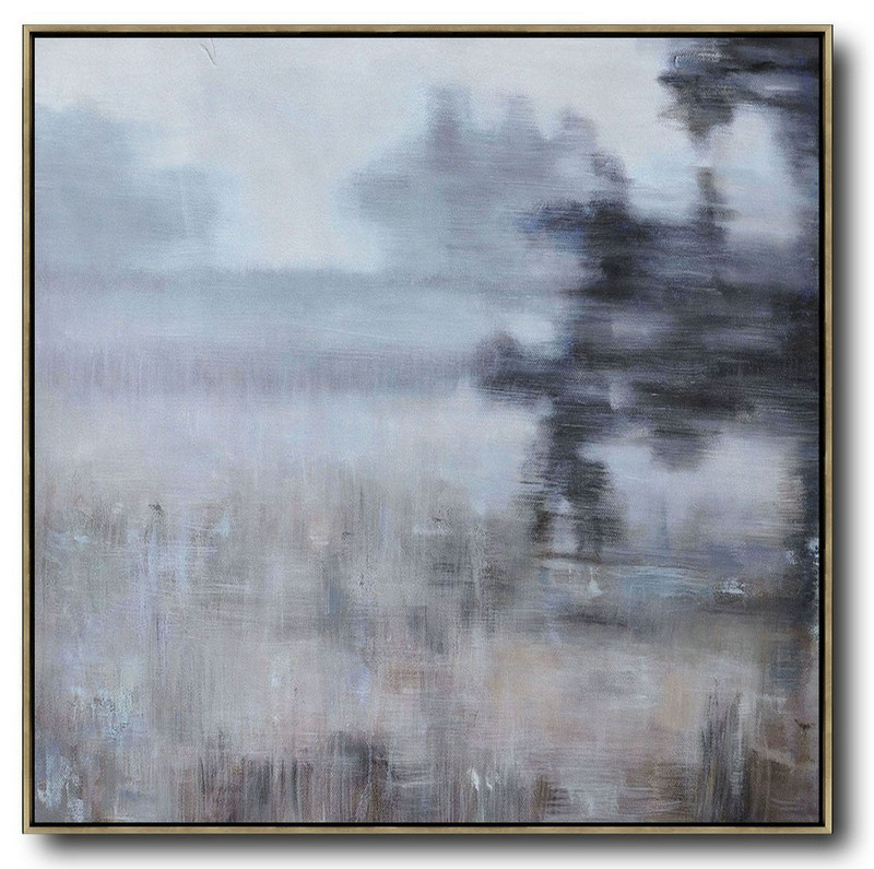 Extra Large Abstract Painting On Canvas,Oversized Abstract Landscape Oil Painting,Large Canvas Art,Gray,Green,Black.etc