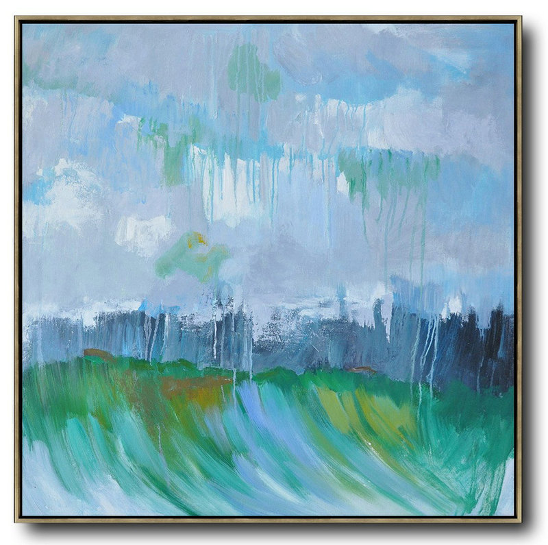 Oversized Canvas Art On Canvas,Oversized Abstract Landscape Oil Painting,Canvas Wall Art,Gray,Green,Dark Blue.etc