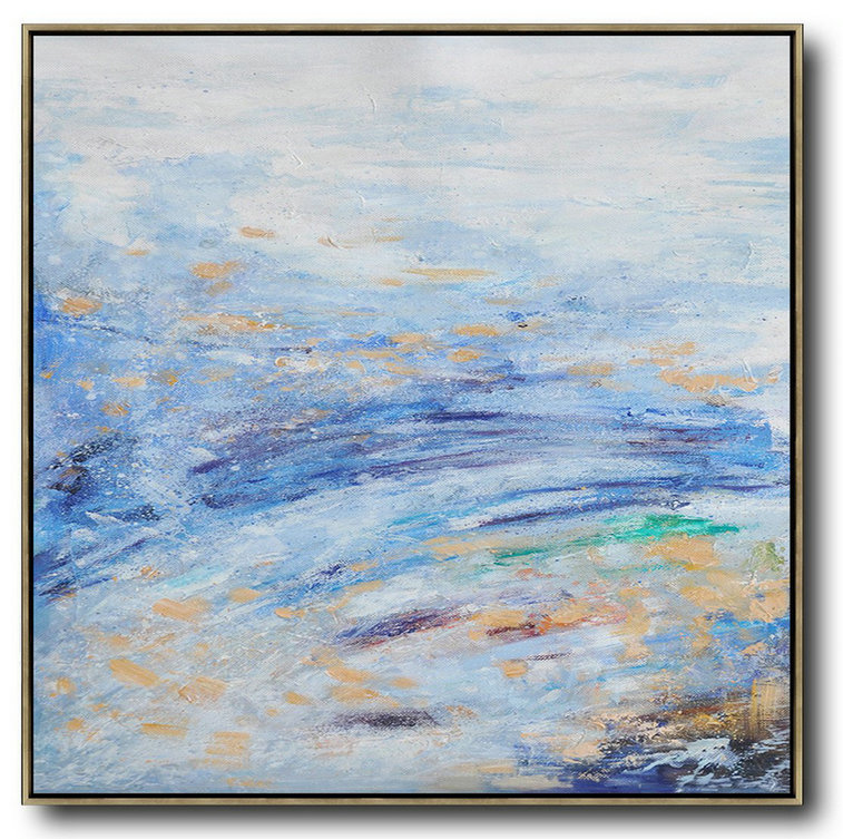 Original Artwork Extra Large Abstract Painting,Oversized Abstract Landscape Oil Painting,Huge Canvas Art On Canvas,Blue,White,Blue.etc
