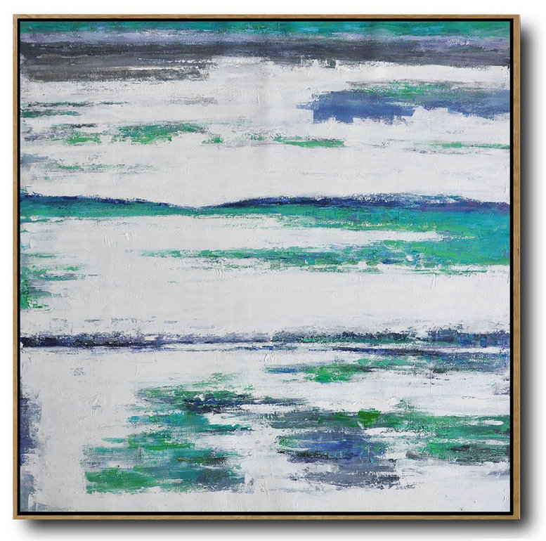 Abstract Painting Extra Large Canvas Art,Large Abstract Landscape Oil Painting On Canvas,Oversized Custom Canvas Art,Green,White,Blue.etc
