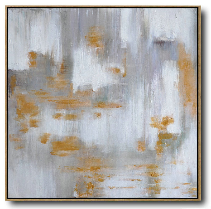 Extra Large Canvas Art,Large Abstract Landscape Oil Painting On Canvas,Large Oil Canvas Art,Glod,White,Grey.etc