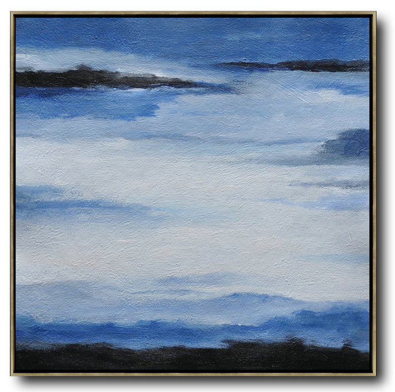 Original Painting Hand Made Large Abstract Art,Oversized Abstract Landscape Painting,Wall Art Painting,Black,Blue,White.etc