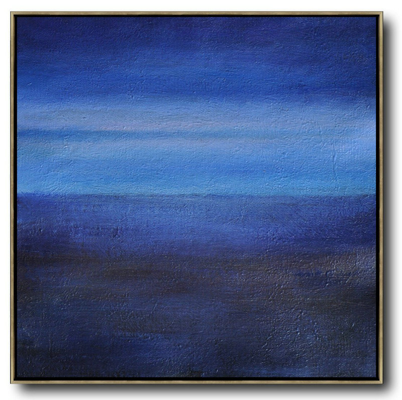 Abstract Painting Extra Large Canvas Art,Oversized Abstract Landscape Painting,Large Living Room Decor,Dark Blue,Sky Blue,Black.etc