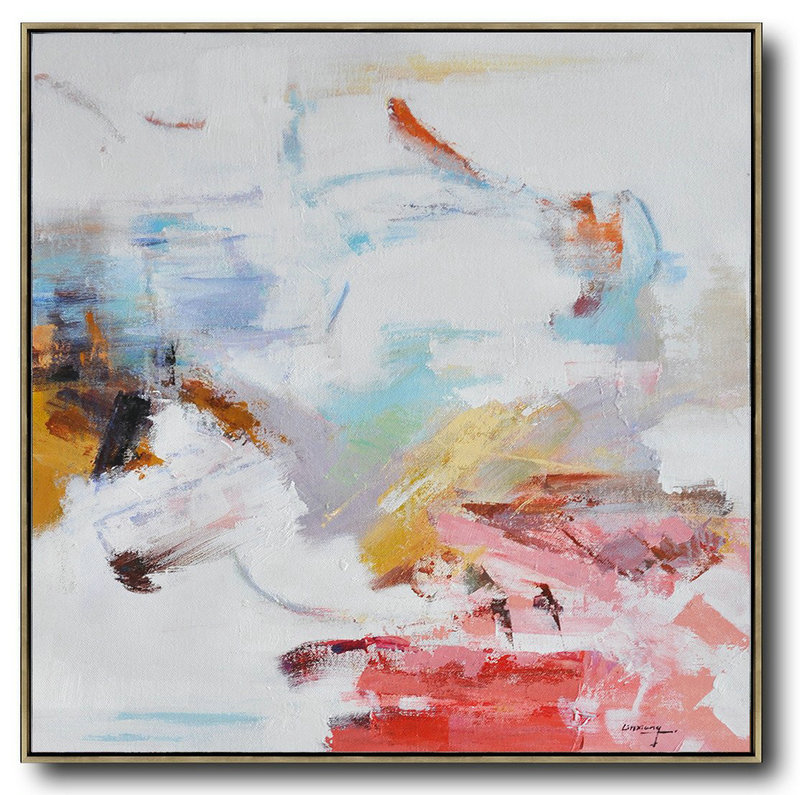 Abstract Painting Extra Large Canvas Art,Oversized Contemporary Oil Painting,Extra Large Canvas Painting,White,Red,Blue,Yellow.etc