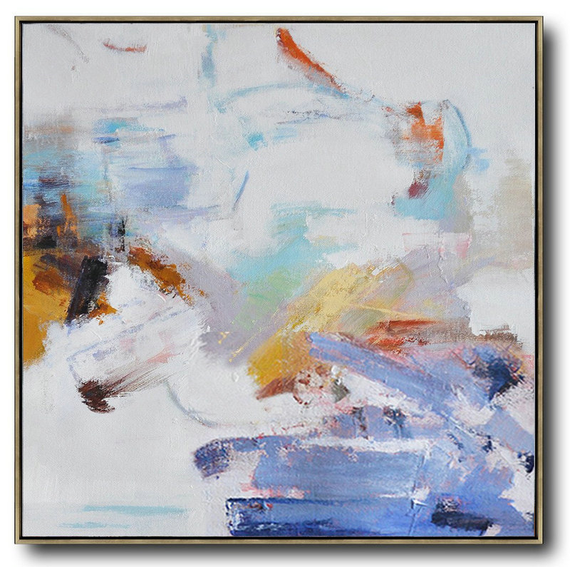 Large Abstract Painting On Canvas,Oversized Abstract Oil Painting,Hand Painted Aclylic Painting On Canvas,White,Blue,Gray,Yellow.etc