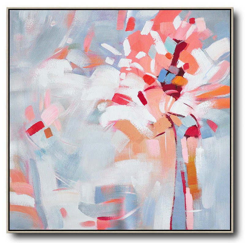 Abstract Painting Extra Large Canvas Art,Oversized Abstract Flower Painting,Xl Large Canvas Art,Pink,White,Gray.etc