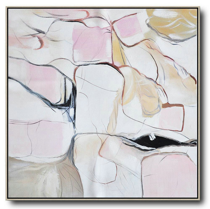 Extra Large Canvas Art,Oversized Abstract Painting,Acrylic Painting Canvas Art,White,Pink,Yellow,Gray.etc