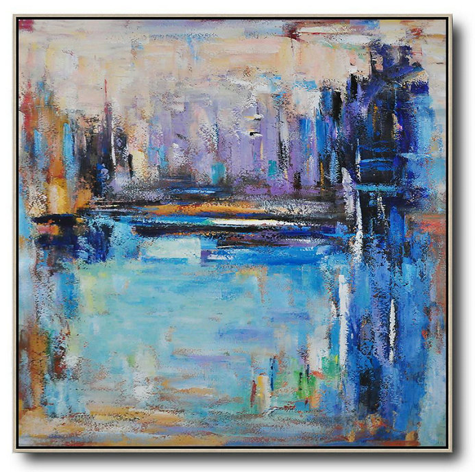 Large Abstract Art,Oversized Abstract Landscape Painting,Hand Paint Large Clean Modern Art,Purple,Blue,Yellow.etc