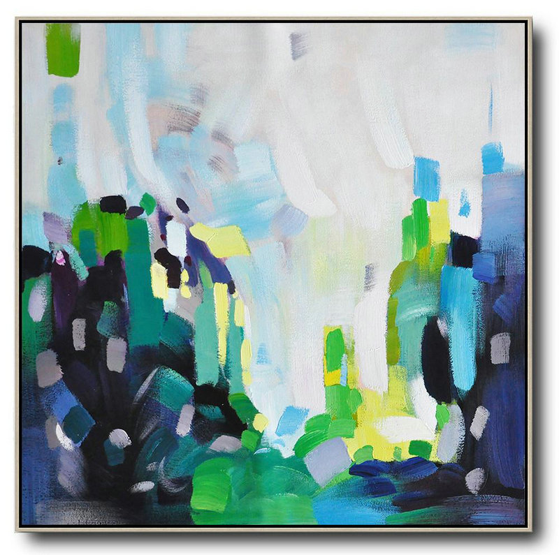 Large Abstract Painting Canvas Art,Oversized Abstract Art,Acrylic Painting Large Wall Art,White,Green,Black,Yellow.etc