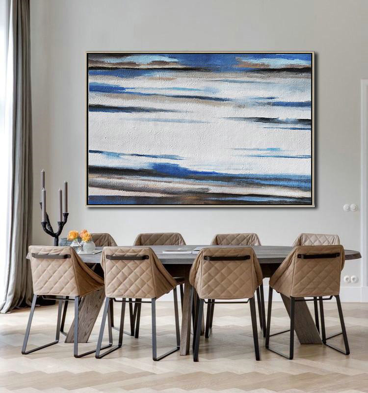 Abstract Painting Extra Large Canvas Art,Horizontal Palette Knife Contemporary Art,Art Work,White,Blue,Brown.etc