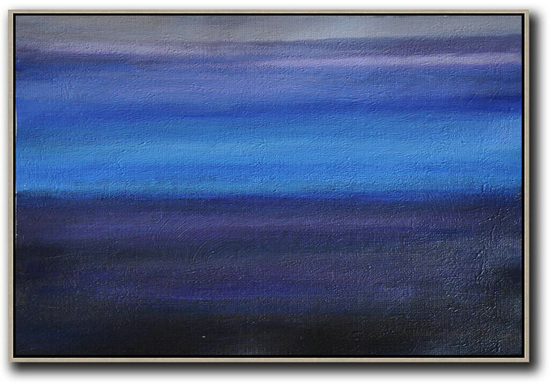 Large Abstract Painting,Horizontal Palette Knife Contemporary Art,Pop Art Canvas,Grey,Blue,Purple,Black.etc