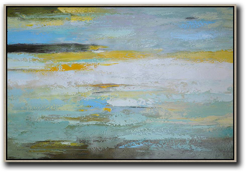 Large Contemporary Art Acrylic Painting,Oversized Horizontal Contemporary Art,Contemporary Art Canvas Painting,White,Yellow,Grey,Green.etc