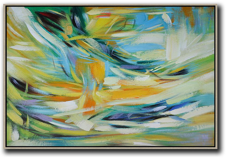 Extra Large Acrylic Painting On Canvas,Oversized Horizontal Contemporary Art,Canvas Artwork For Sale,Yellow,Light Blue,Green,White.etc