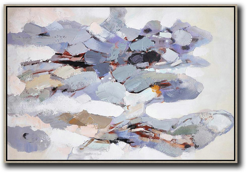 "Extra Large 72"" Acrylic Painting,Oversized Horizontal Contemporary Art,Abstract Oil Painting,White,Grey,Pink,Blue,Yellow.etc"
