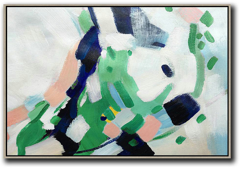Hand Painted Extra Large Abstract Painting,Oversized Horizontal Contemporary Art,Oversized Canvas Art,White,Pink,Dark Blue,Green.etc