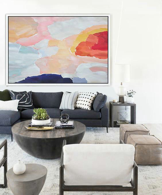 Extra Large Canvas Art,Oversized Horizontal Contemporary Art,Modern Wall Art,Pink,Dark Blue,Grey,Red.etc