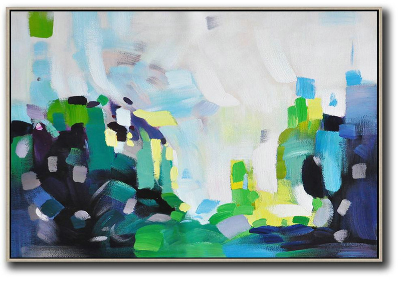 Hand Made Abstract Art,Oversized Horizontal Contemporary Art,Hand Made Original Art,White,Grey,Blue,Green.etc