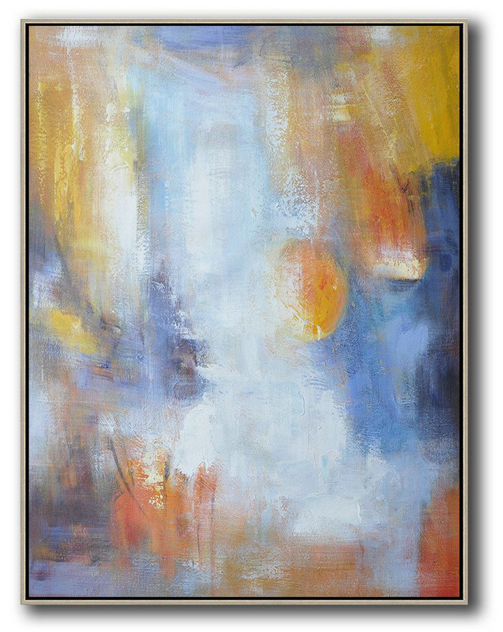Large Abstract Art Handmade Oil Painting,Vertical Palette Knife Contemporary Art,Large Abstract Art Handmade Acrylic Painting,Yellow,White,Blue.etc