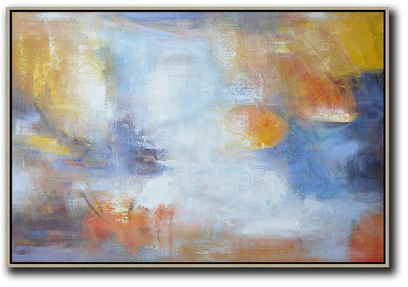 Handmade Large Contemporary Art,Oversized Horizontal Contemporary Art,Huge Abstract Canvas Art,White,Blue,Yellow.etc