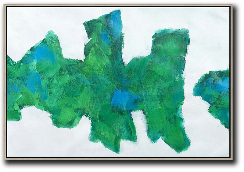 Huge Abstract Painting On Canvas,Horizontal Abstract Landscape Art,Abstract Painting Modern Art,White,Green,Blue.etc