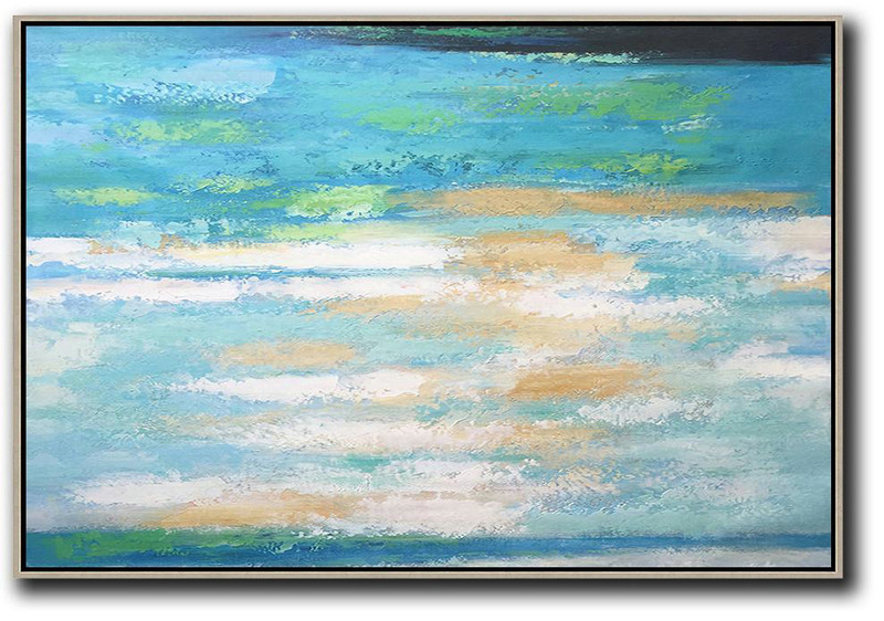 Abstract Painting Extra Large Canvas Art,Oversized Horizontal Abstract Landscape Art,Huge Canvas Art On Canvas,Blue,Earthy Yellow,White.etc