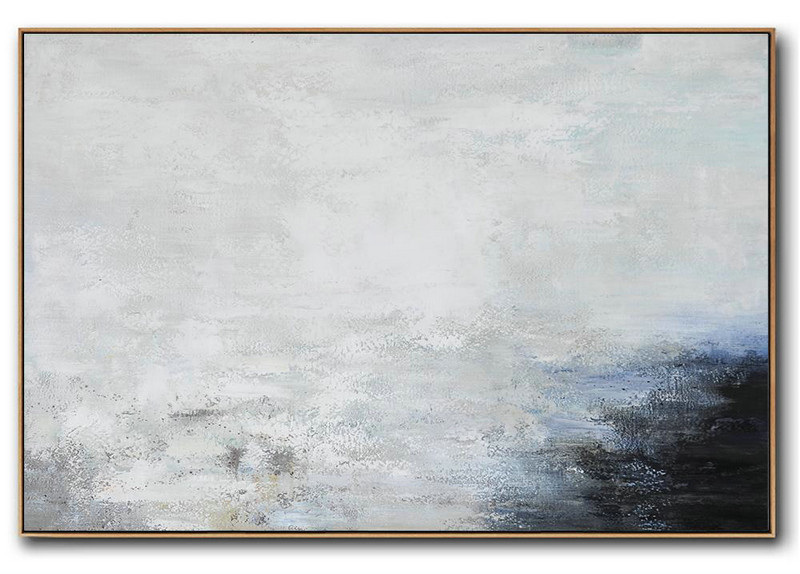 Extra Large Acrylic Painting On Canvas,Hand Painted Oversized Horizontal Abstract Landscape Art On Canvas,Hand Painted Acrylic Painting,White,Grey,Black.etc