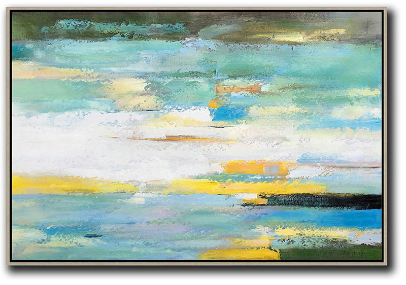 Large Abstract Painting Canvas Art,Oversized Horizontal Abstract Landscape Art,Large Paintings For Living Room,White,Yellow,Light Green.etc