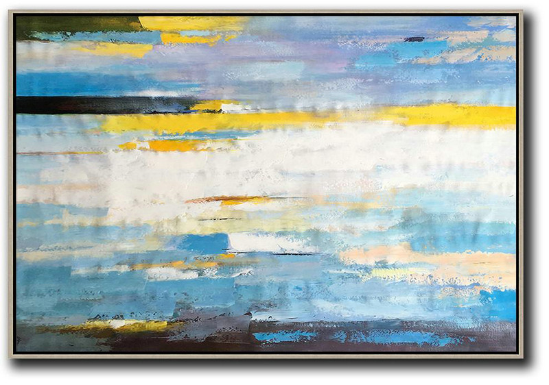 Extra Large Painting,Horizontal Abstract Landscape Art,Large Wall Canvas,White,Yellow,Blue,Purple,Black.etc