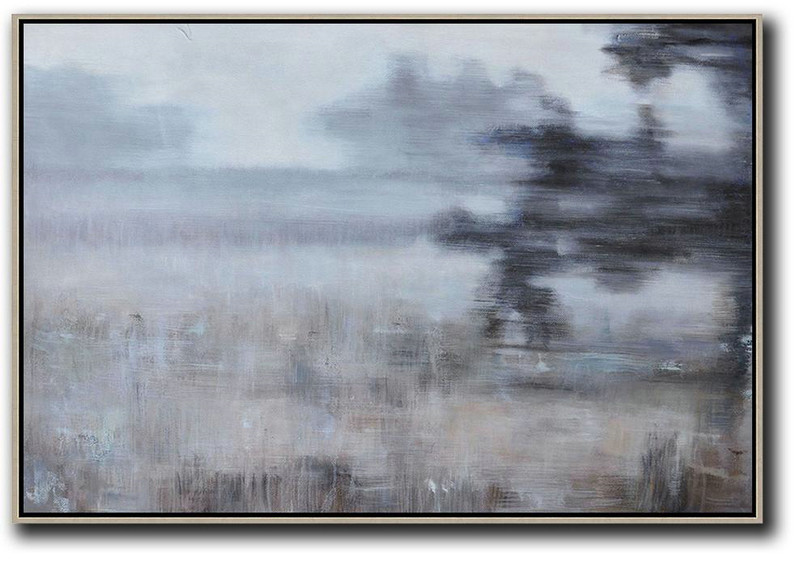 Original Painting Hand Made Large Abstract Art,Horizontal Abstract Landscape Oil Painting On Canvas,Extra Large Canvas Art,Handmade Acrylic Painting,Grey,Black,Brown.etc