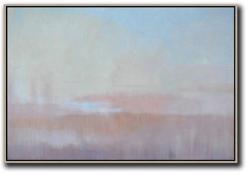 Large Abstract Painting On Canvas,Horizontal Abstract Landscape Oil Painting On Canvas,Hand-Painted Contemporary Art,Sky Blue,Pink,Light Blue,Purple.etc