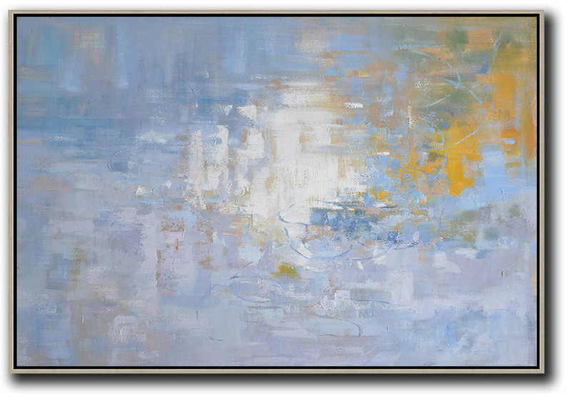 Abstract Painting Extra Large Canvas Art,Horizontal Abstract Landscape Oil Painting On Canvas,Modern Art Abstract Painting,Purple Grey,White,Yellow.etc