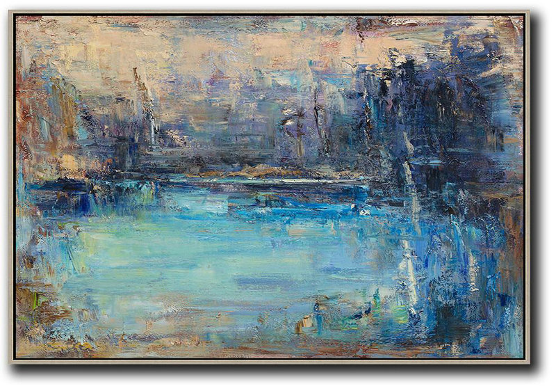 Abstract Painting Extra Large Canvas Art,Horizontal Abstract Landscape Oil Painting On Canvas,Hand Paint Large Art,Yellow,Dark Blue,Brown.etc