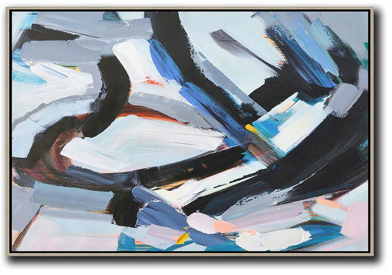 Large Abstract Art,Horizontal Palette Knife Contemporary Art,Canvas Wall Paintings,White,Grey,Dark Blue,Black.etc