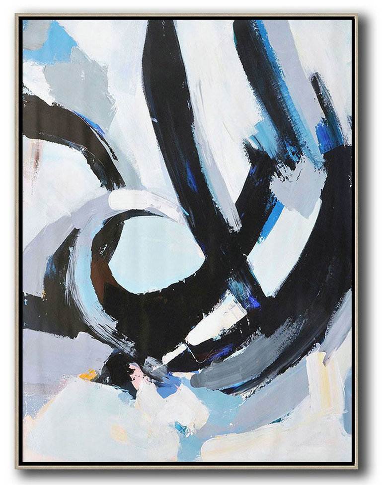Large Abstract Art Handmade Oil Painting,Vertical Palette Knife Contemporary Art,Size Extra Large Abstract Art,White,Black,Blue.etc