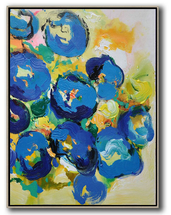 Extra Large Acrylic Painting On Canvas,Vertical Palette Knife Contemporary Art,Abstract Art Decor Large Canvas Painting,Yellow,Blue,Pink,Green.etc