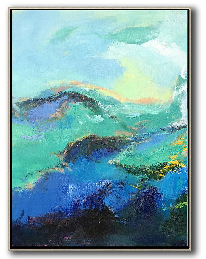 Large Modern Abstract Painting,Vertical Palette Knife Contemporary Art,Canvas Wall Paintings,Blue,Green,Black.etc