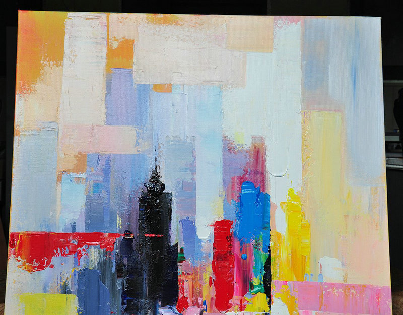 "Extra Large 72"" Acrylic Painting,Vertical Palette Knife Contemporary Art,Contemporary Art Canvas Painting,Black,Red,Pink,Yellow.etc"
