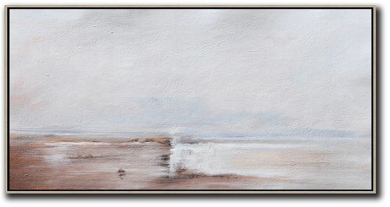 "Extra Large 72"" Acrylic Painting,Hand Painted Panoramic Abstract Painting,Hand Painted Abstract Art,Beige,Grey,White.etc"